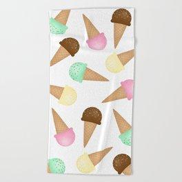 Ice Cream Pattern Beach Towel