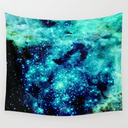 GALAXY. Teal Aqua Stars Wall Tapestry