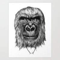 gorilla Art Prints featuring Gorilla  by Кaterina Кalinich