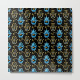Hamsa Hand pattern - Gold and Blue glass Metal Print