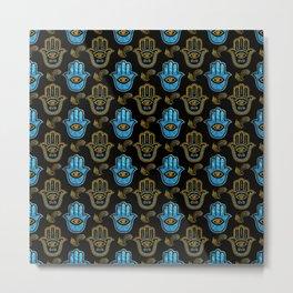 Hamsa Hand pattern - Gold and Blue glass Metal Print