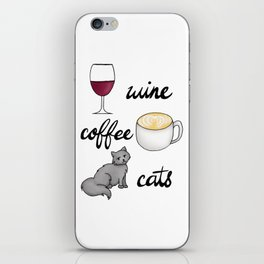 Wine Coffee Cats iPhone Skin