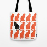 contemporary Tote Bags featuring CATTERN SERIES 2 by Catspaws