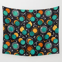 Great Total Solar Eclipse II // turquoise green moons Wall Tapestry