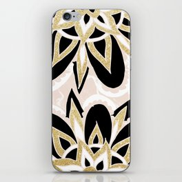 Modern black gold pink abstract floral pattern iPhone Skin