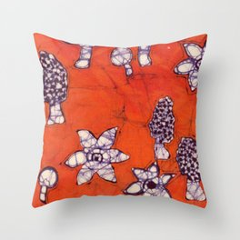 mushroom batik Throw Pillow