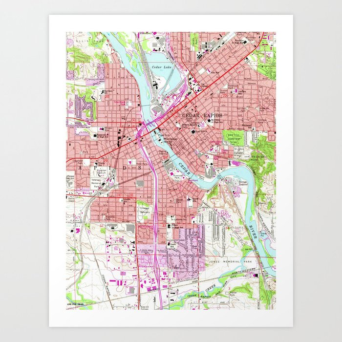 Hiawatha Iowa Map.Vintage Map Of Cedar Rapids Iowa 1967 Art Print By Bravuramedia