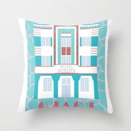Miami Landmarks - Hotel Webster Throw Pillow