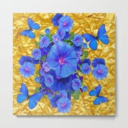 BLUE BUTTERFLIES & M0RNING GLORIES ON GOLD LEAF Metal Print