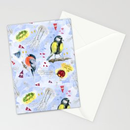 Swedish Winter Watercolor Pattern Stationery Cards
