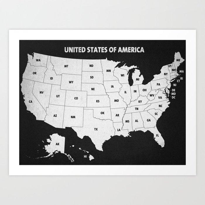 Black & White U.S.A. Map Art Print by champagne