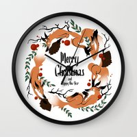 merry christmas Wall Clocks featuring Merry Christmas by Anya Volk