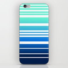 Bay Ombre Stripe: Mint Navy iPhone Skin