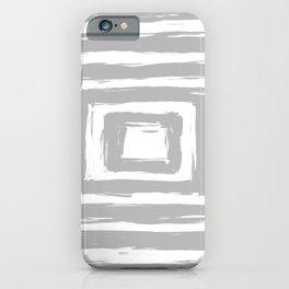 Minimal Light Gray Brush Stroke Square Rectangle Pattern iPhone Case