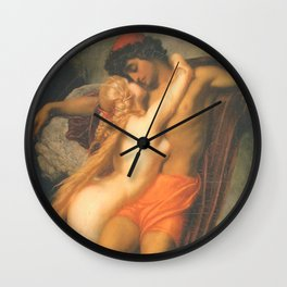Syren and a Fisherman by Frederic Leighton Wall Clock