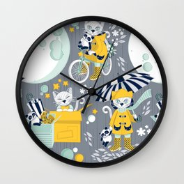 The cat who loves rainy nights Wall Clock
