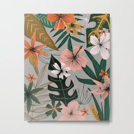 tropical floral on gray Metal Print