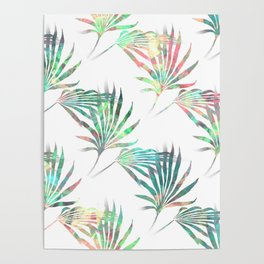 Palmetto Fronds Tropical Multicolor Pattern Poster
