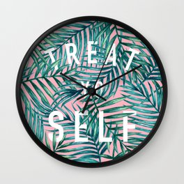Treat Yo Self (Palm Print) Wall Clock