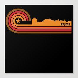 Retro Style Wausau Wisconsin Skyline Canvas Print