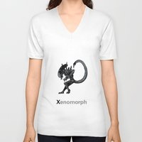 xenomorph V-neck T-shirts featuring Xenomorph by James Courtney-Prior