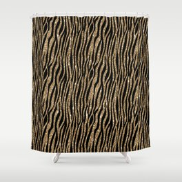 Black Gold Glitter Animal Print Shower Curtain