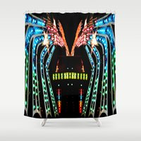 ufo Shower Curtains featuring UFO by bobtheberto