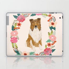 rough collie floral wreath dog breed pet portrait pure breed dog lovers Laptop & iPad Skin