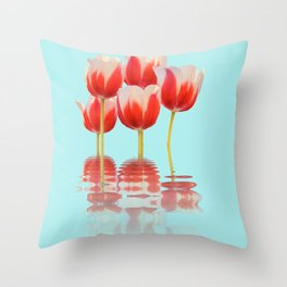 Spring Tulip Flowers Throw Pillow