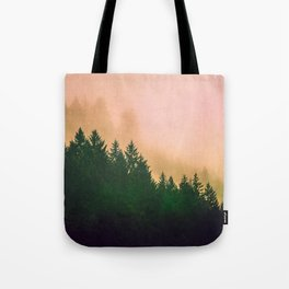 Cascadia Green Trees and Sunset Tote Bag