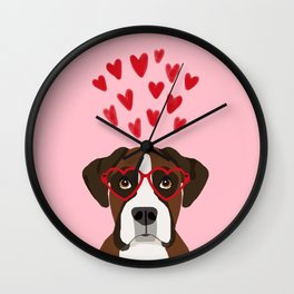 Boxer head love hearts valentines day dog breed must have gifts Wall Clock