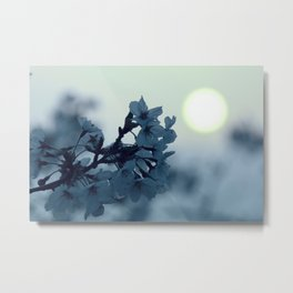 Teal Flower Sunset Metal Print