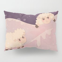 Cartoon Baby Sheep, Red Violet Snowy Bokeh Background Pillow Sham