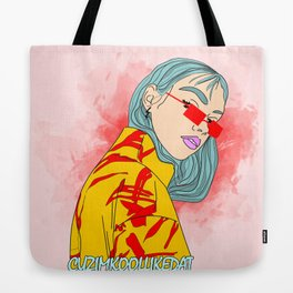 CUZ IM KOOL LIKE DAT - Cool Asian Female with Blue Hair Digital Drawing Tote Bag