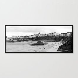 Tenby Harbour.Panoramic.B+W. Canvas Print