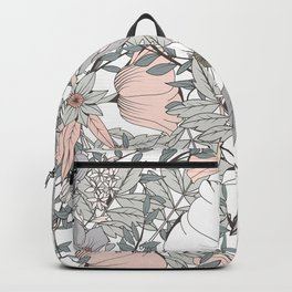 Farmhouse Chic Blush Pink and Grey Floral Pattern Backpack