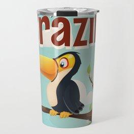 Vintage fly to Brazil Toucan Travel Poster Travel Mug