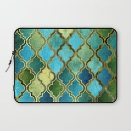 Moroccan Quatrafoil Pattern, Vintage Stained Glass, Blue, Green and Gold Laptop Sleeve