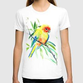 Sun Conure Parakeet, tropical yellow green bird decor T-shirt