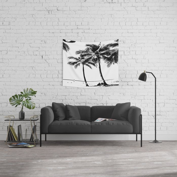 Black and White Palm Tree with Hawaii Summer Sea Beach Wall Tapestry