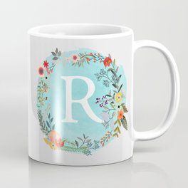 Personalized Monogram Initial Letter R Blue Watercolor Flower Wreath Artwork Coffee Mug