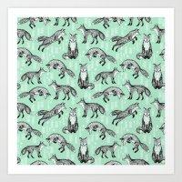 Fox pattern drawing foxes cute andrea lauren mint forest animals woodland nursery Art Print