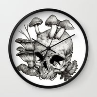 mushrooms Wall Clocks featuring Mushrooms by Arnaud Gomet