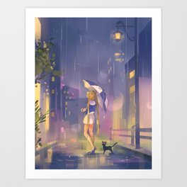 umbrella usagi Art Print