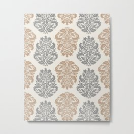 Liberty Floral Damask Pattern – Neutral Brown and Gray Earth Tones Metal Print