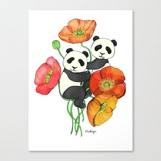 Poppies & Pandas Canvas Print