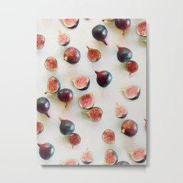 Fresh Figs on Linen Metal Print