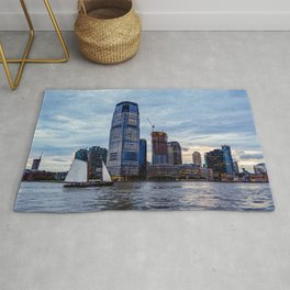 Cityscape of New Jersey from Hudson River at Sunset Rug