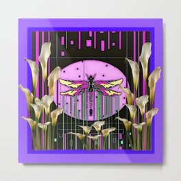 Purple Art Nouveau Calla Lilies Dragonfly Art Metal Print