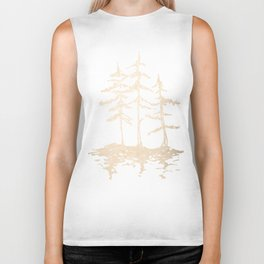Three Sisters Forest White Gold Trees Biker Tank